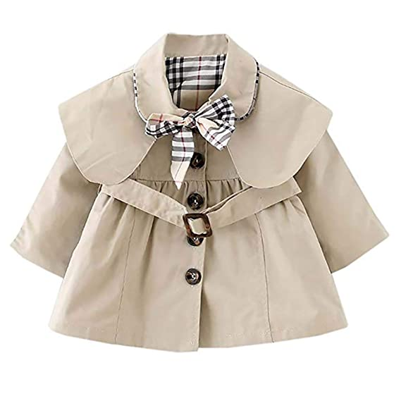 756d848c9f23 Freshmarque Kids Baby Girl Spring Autumn Bowknot Cotton Trench Coat ...