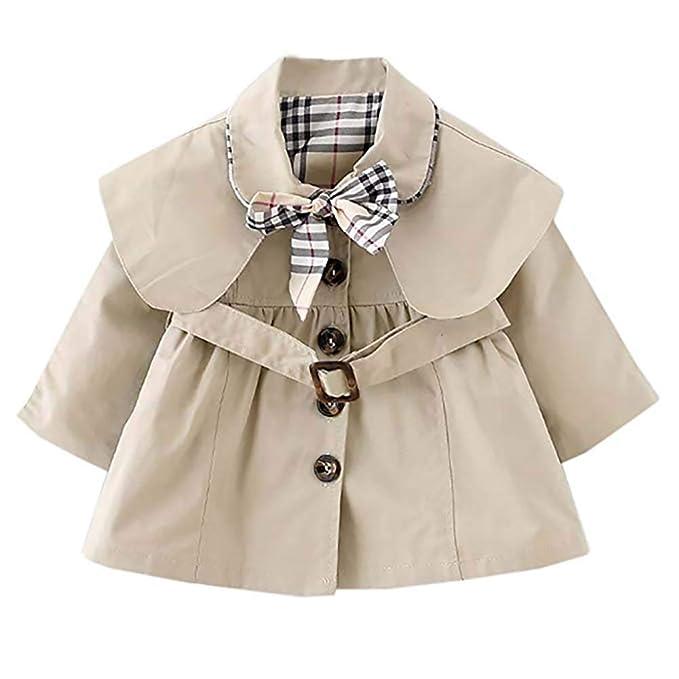 Mallalah Chaqueta de bebé niña Abrigo Trench Coat Sudadera con cinturón Princesa Niños Chaquetas Parka Ropa Prendas de Abrigo 0-4 años Primavera Otoño