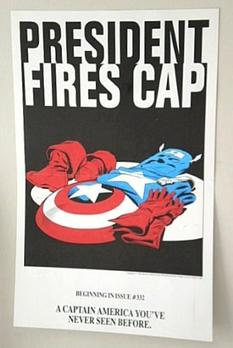 Rare Vintage 1986 USA President Fires American Superhero Captain America Marvel Comic Book Shop Store Dealer 1980's 17 by 11