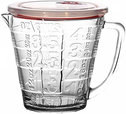PLDDY Vaso medidor de cristal con escala, leche, microondas ...