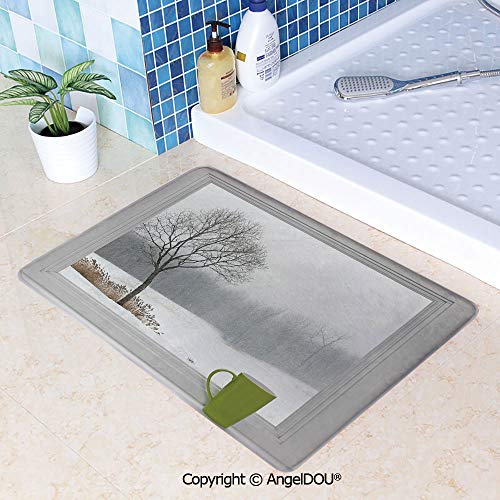SCOXIXI Printed Non Slip Entry Door Mat Bathroom Carpet Green Teacup on a Windowsill Forest Outdoors February Snowstorm Scenic Countryside Decorative Area Rugs for Dining Room Liv W23.6xL35.4(inch) (Best Sander For Window Sills)