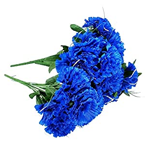 MM TJ Products Artificial Carnations Bushes. 7 Stems Pack of 4 Bushes (Royal Blue) 21