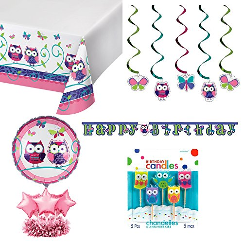 Owl Pal Jointed Happy Birthday Banner bundle with Balloon Centerpiece, Dizzy Danglers and Accessories(5 (Owl Banner)