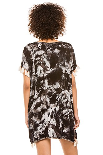 Surf Gypsy Women's Wovens Tunic Swim Cover Up Charcoal/White S