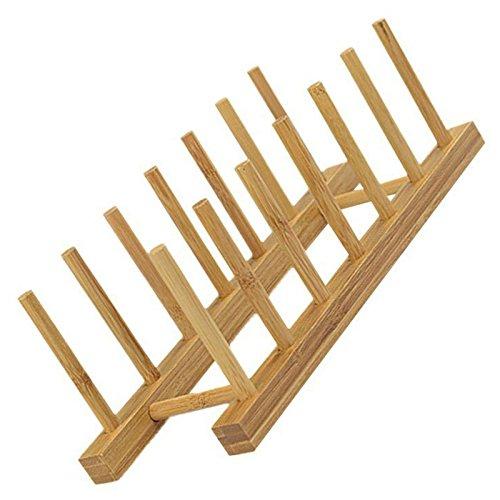 TOOGOO 6 Rejillas Estante Bandeja de Almacenamiento Plato Cocina Sostenedor  Bambu Placa Soporte Escurridor cd5c060ac43c