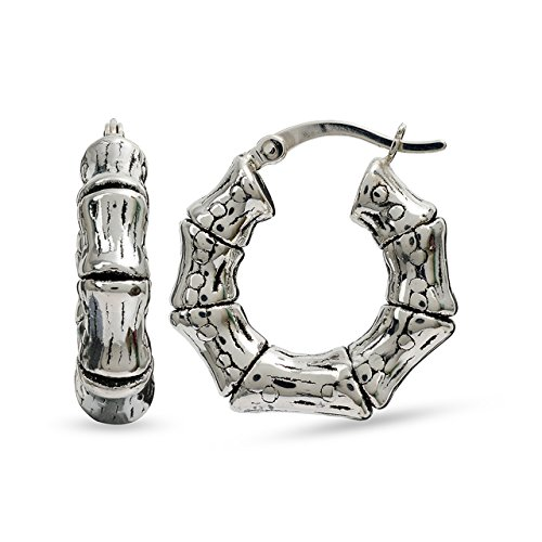 (LeCalla Sterling Silver Jewelry Light Weight Bamboo Pattern Tribal Antique Hoop Earring for Women)