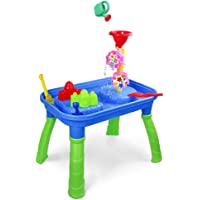 Sand Water Table 2 in 1 Activity Table Sand Tray Box Splash Water Toys for Kids Outdoor Yard Games with Molds Shovel Rake Watering Can Summer Beach Toys Gift for Toddlers Boys Girls