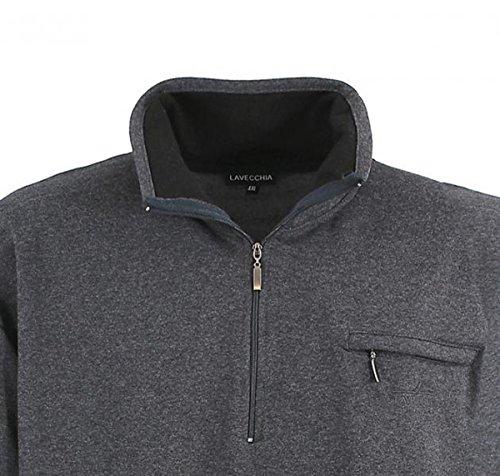Klassisches Herren Sweatshirt mit Reißverschluss in Übergröße in grau