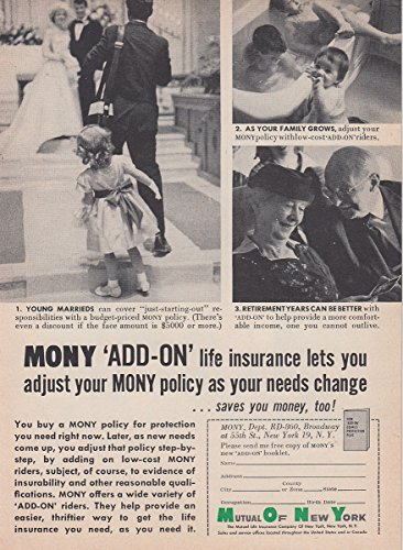 1960 Mutual Of New York  Mony  Add On Life Insurance  Mutual Of New York Print Ad
