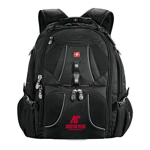 Austin Peay Wenger Swiss Army Mega Black Compu Backpack 'AP Austin Peay Governors - Official Athletic Logo' by CollegeFanGear