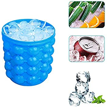 Silicone Ice Bucket & Ice Mold with lid, Large Silicon Ice Bucket Portable Ice Cube Maker, Blue