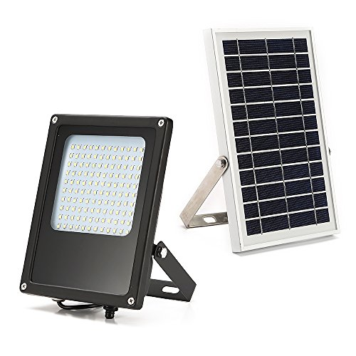 Solar Flood Lights Outdoor, MYM Dusk to Dawn 120 LEDs 6W Solar Panel IP65 Waterproof Solar Security Flood Light for Flag Pole,Sign,Barn Entry,Backyard,Garage,Auto-on/Off