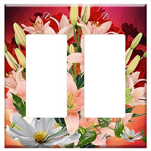 (Switch Plate Double Rocker/GFCI - Lilies Salmon Lirios Flowers Flower Nature Sky)