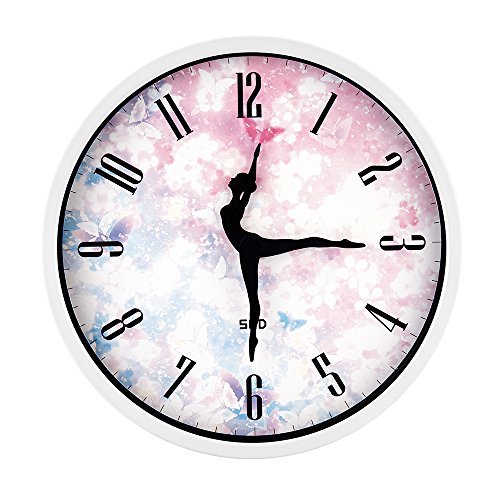 White Wall Clock,12 Inch Silent Non Ticking Quality Quartz Battery Operated Easy to Read Home/Office/School Clock, with Ballet Dancer Pointer and Stoving Varnish Finished Metal Frame(Cherry, White by Color Map