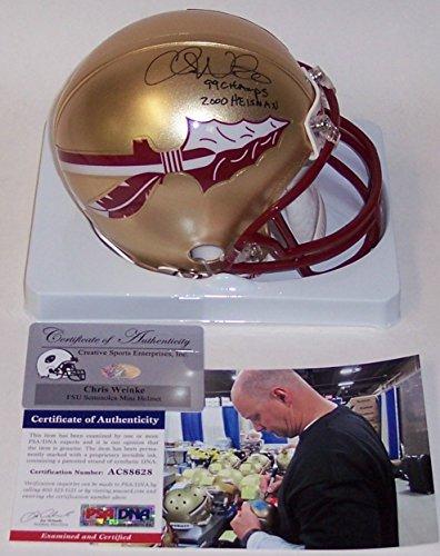 Helmet Football 1999 - Chris Weinke Autographed Hand Signed FSU Florida State Seminoles Mini Football Helmet - with 1999 National Champs & 2000 Heisman inscriptions - PSA/DNA