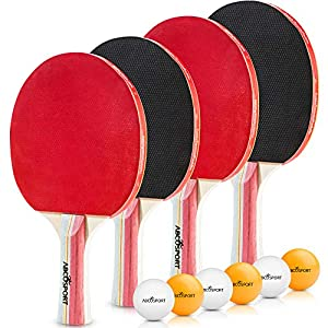 Table Tennis Ping Pong Set – Pack of 4 Premium Paddles/Rackets and 6 Table Tennis Balls – Soft Sponge Rubber – Ideal for Professional & Recreational Games – 2 or 4 Players – Perfect Set On The Go