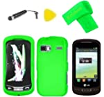 Hard Case Phone Cover + Extreme Band + Stylus Pen + LCD Screen Protector + Yellow Pry Tool for LG Xpression 2 C410 Neon Green