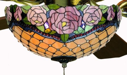 Tiffany Street 25033 Roses Stained Glass Ceiling Fan Kit Ceiling