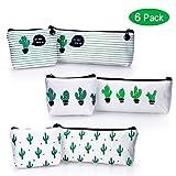 YOUSHARES 6 Packs Cactus Pencil Case Bundle – Cute Canvas Pencil Bag for Pencils & Pens or Small Makeup (6PCS(Green))