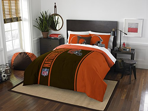 Cleveland Browns Pillow Case (Cleveland Browns COMBO 5 Pc FULL Size Comforter Set Includes: Comforter, 2 Pillow Shams & 2 Pillowcases - NFL Football Bedding Accessories)