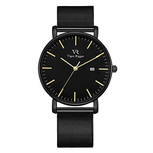 - Vigor Rigger Men's Quartz Watches, Minimalist Analog Date Display Wrist Watch with Black Milanese Mesh Stainless Steel Band, 30M Waterproof Watch with Metal Case-5.