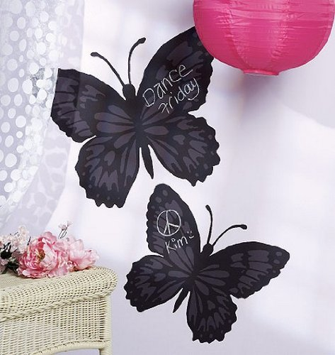 Wallies Peel and Stick Wall Chalkboard Butterfly Stickers for Girls, 2pc