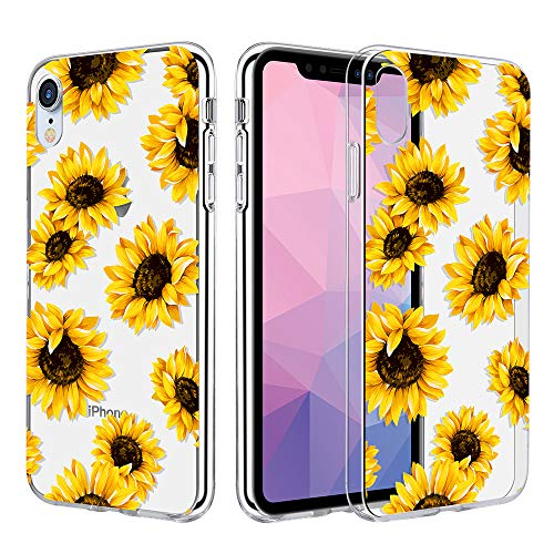 Caka Clear Case Compatible for iPhone XR Clear Floral Case Flower Pattern Slim Girly Anti Scratch Excellent Grip Premium Clarity TPU Crystal Protective Case for iPhone XR (6.1'') - (Sunflower)