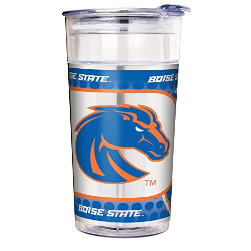 NCAA Boise State Broncos Double Wall Acrylic Party Cup with Metallic Graphics, 22-Ounce, Clear