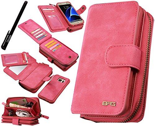 Urvoix Galaxy S7 Edge Case, Premium Leather Zipper Wallet Multi-functional Handbag Detachable Removable Magnetic Case with Flip Card Holder Cover for Samsung Galaxy S7edge G935 (Leather Pink Premium Case)