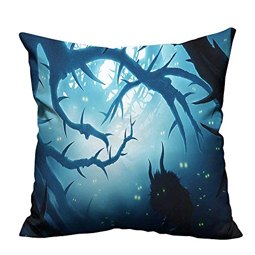 YouXianHome Decorative Couch Pillow Cases Animal Burning Ey in at Night Horror Halloween Navy White Easy to Wash(Double-Sided Printing) 26x26 inch -