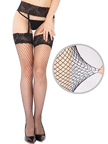 Sex Moment Women Black Fishnet Lace Tights Stretchy Thigh High Stockings Garter (Stockings And Garters)