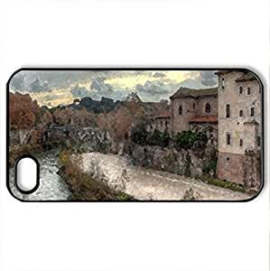 Isola Tiberina. - Case Cover for iPhone 4 and 4s (Houses Series, Watercolor style, Black)