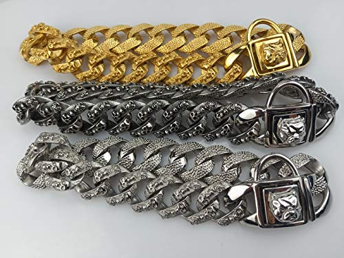 Luxury Dog Choke Collar Chain P Chain/Heavy Duty Stainless Steel 32mm Curb Chain/Best for Small Medium Large Breeds - for Pit Bull Mastiff Bulldog Big Breeds,Silver,E by MUJING (Image #1)