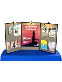Tri Fold Double Sided Exhibition Display Board With Gray Fabric, 72 X 36