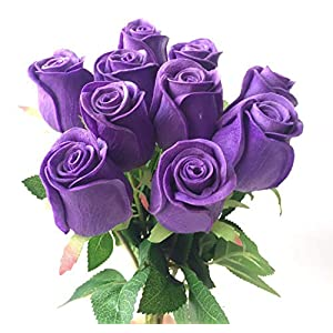 Artificial Flowers 11P Real Touch Rose Flower Pink/Blue/Black/Red/Yellow/Purple Pu Roses Artificial Rose 43Cm for Wedding Party Decorative Flowers,60Cm Rose Red 4