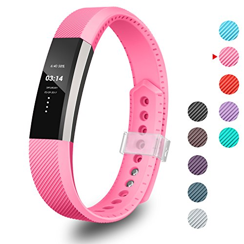 Ace Fastener - GreenInsync Fitbit Alta Bands,Soft Accessory Replacement Wristband with Metal Clasp and Ultrathin Fastener for Fitbit Alta/Fitbit Alta HR/Fitbit Ace Strap Small (Rose)