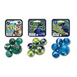 Mega Marbles Beautiful Birds Themed Set 3-Pack with Owl, Peacock and Blue Jay - 75 Colorful Glass Marbles - Each Net Includes 1 Shooter and 24 players