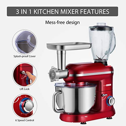 VIVOHOME Electric 650W Multi-functional 6-Speed Tilt-Head Stand Mixer Meat Grinder Juice Blender with 6 Quart Stainless Steel Bowl Red ETL Listed by VIVOHOME (Image #2)