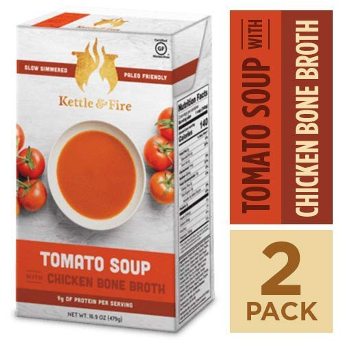 (Tomato Soup with Chicken Bone Broth by Kettle and Fire, Pack of 2, Paleo, Gluten Free Collagen Soup on the Go, 9g of Protein, 16.9 fl)