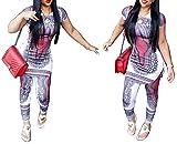 Women Sexy Summer 2pcs Outfit Africa Pattern Crop Top + Pant Set Jumpsuit Party Dress Clubwear (M, color 2)