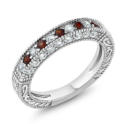 1.00 Ct Garnet and White Created Sapphire 925 Sterling Silver Ladies Anniversary Wedding Band Ring,Red and White, ring size 8