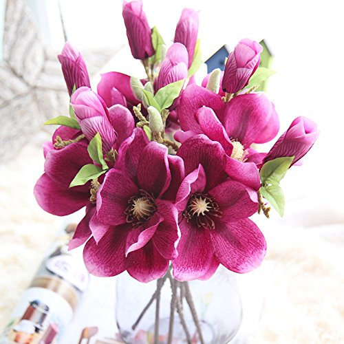 6pcs Artificial Flowers Magnolia Flower Bud Bridal Wedding Bouquet Real Touch Flower Bouquets Home Party Event Christmas New Year Wedding Mother's Day Gift Decoration , Vase Not Included ()