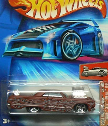 2004 First Editions -#33 Tooned Chevy Impala 1964 Brick Red #2004-33 Collectible Collector Car Mattel Hot Wheels