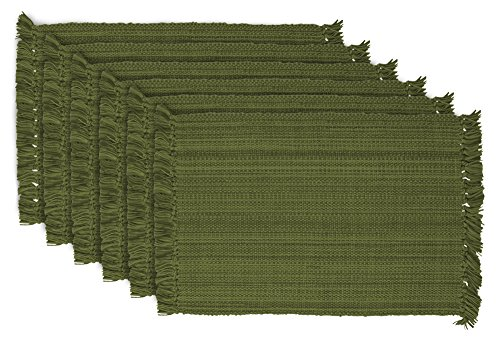 DII Tonal Fringe Placemat, Set of 6, Variegated Olive Green - Perfect for Fall, Dinner Parties, BBQs, Christmas, Weddings and Everyday Use