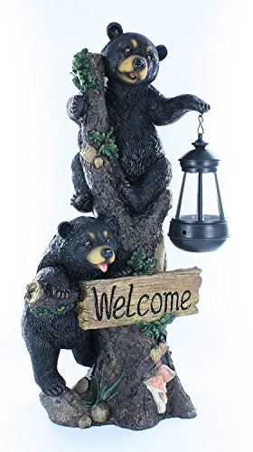 Large Black Bears Welcome Sign / Statue with Solar LED Lantern - Bear Cub Decor