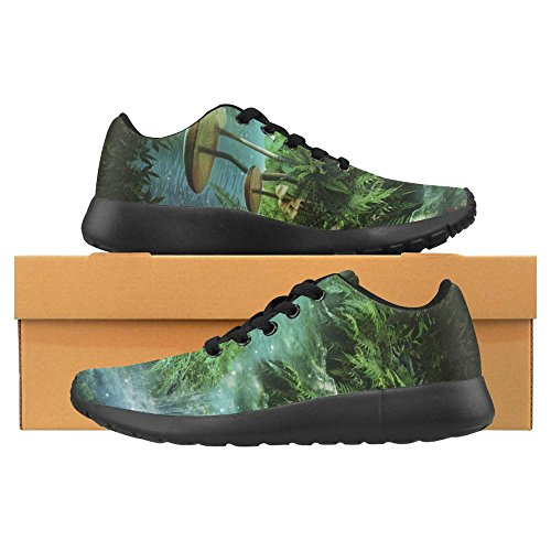 InterestPrint Womens Jogging Running Sneaker Lightweight Go Easy Walking Casual Comfort Running Shoes Fantasy River With a Pond, Red Fishes and Mushroom Multi 1