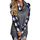 Tsmile Womens Turtleneck Cowl Neck Tops Plaid Patchwork Shirts Oversized Tunic Long Sleeve Pullover Navy