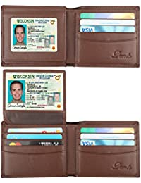 RFID Blocking Cowhide Leather Wallet for Men with 2 ID Windows
