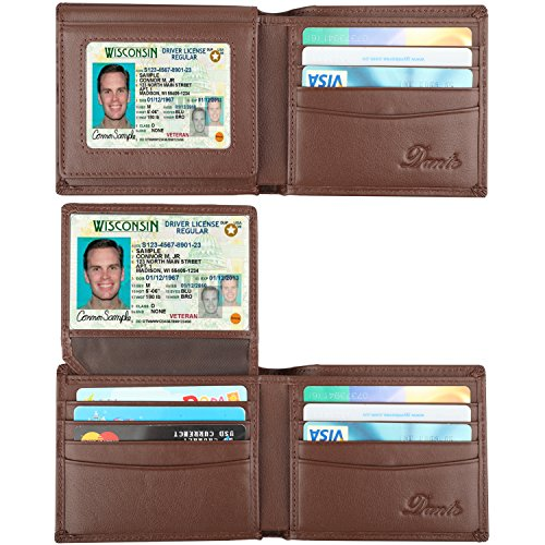 Dante RFID Blocking Stylish Leather Wallet for Men,Credit Card Protector(2 ID Window Coffee)
