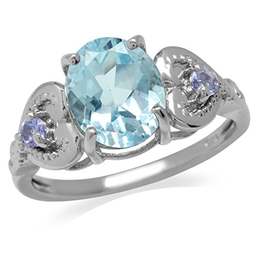 3.03ct. Genuine Blue Topaz & Tanzanite 925 Sterling Silver Heart Victorian Style Ring Size 7